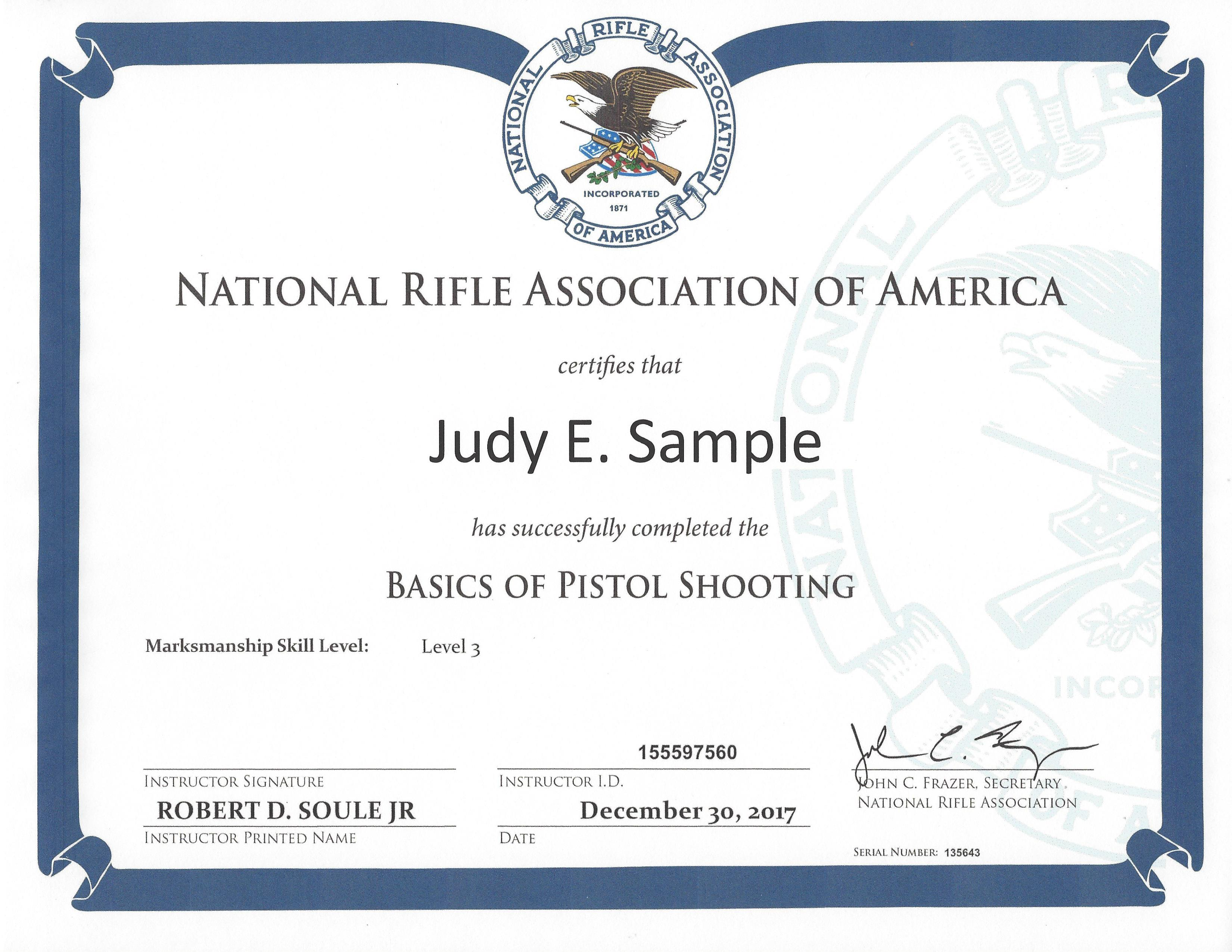 NRA Basics of Pistol Shooting Course Certificate Sample